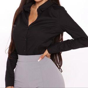 Fashion Nova Button Down Bodysuit - Small